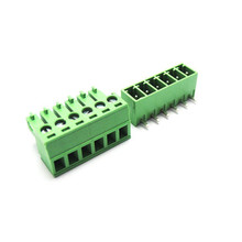 5 sets 3.81 6pin Right angle Terminal plug type 300V 8A 3.81mm pitch connector pcb screw terminal block Free shipping