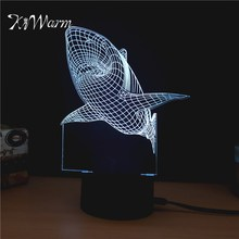 KiWarm Lovely 3D Shark Design Novelty Light lampada led Table Lamp Bulbing Colorful night light Home Ornament Craft Gift(China)