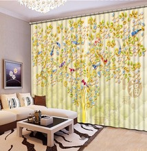european style curtains custom 3d curtains The magpie branches 3d window luxury curtains livingroom modern-bedroom-curtains