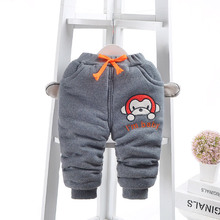 Baby Boys Pants 2017 New Winter Children Clothes Kids Cartoon Monkey Design Warm Thicken Harem Pants For 1-3 Years Boy Trousers(China)