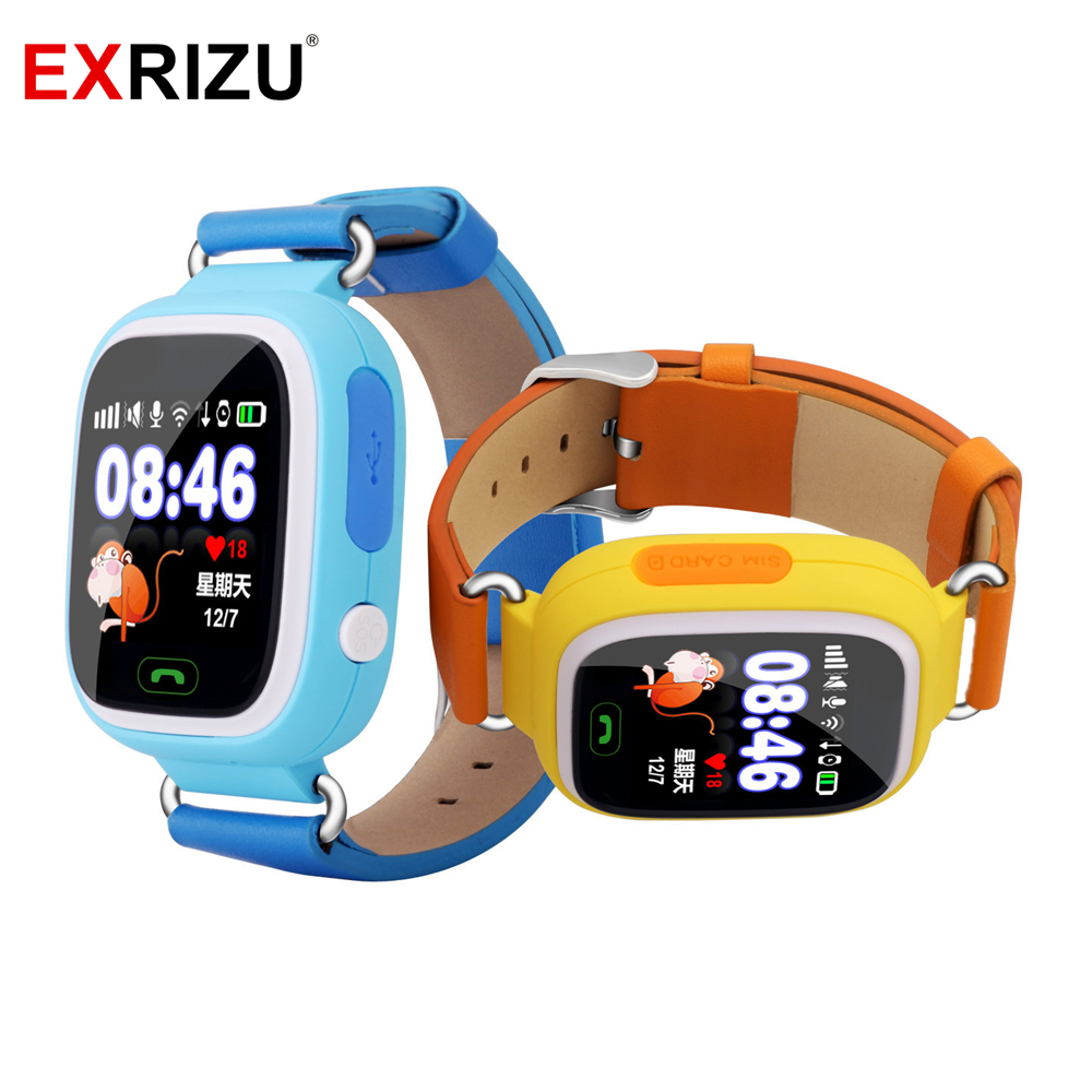 EXRIZU Q90 GPS Smart Watch Tracker for Kids Child Touch Screen WIFI SOS Call Location Safe Device Anti Lost Reminder Smartwatch<br>