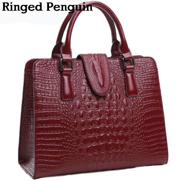 2017 Womens Genuine leather bag ladies crocodile pattern Women messenger bag handbag women famous brand designer high quality<br>