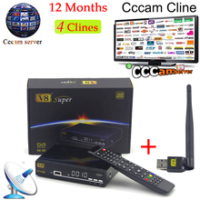 1 Year Cccam Europe Freesat V8 Super+1pc USB WiFi DVB-S2 Support PowerVu Satellite Receiver HD Full 1080P 4 Clines Cccam Server