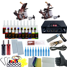Professional Tattoo Kit 2 Tattoo Machines 6 Colors Ink Set Power Supply Box Beginner Body Art Supplies Needles Tips Kit