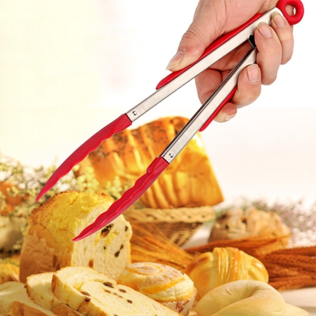 1pc Stainless Steel Food Tongs Buffet Bbq Cooking Tools Bread Clip Picnic Pastry Cl Kitchen