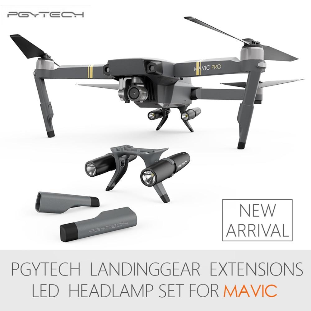 PGYTECH Extended Landing Gear Leg Support Protector Extension LED Headlamp Front Bright LED Lights set For DJI Mavic Pro<br>