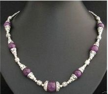 "Jewelr 006365 18""inch Charming Tibet Silver Asian purple beads Necklace(China)"