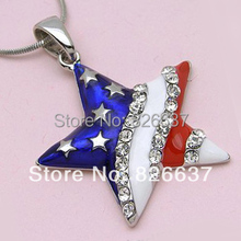 Skyrim 1 pcs 4th of July inspired American flag star chunky pendant necklace