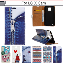 EiiMoo Case For LG X Cam Cover K580 K580DS High Quality Luxury Cartoon Wallet PU leather Flip Case Cover For LG X Cam Phone Case(China)