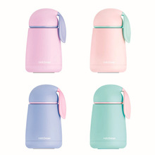 Cute Rabbit Thermos Cup Water Bottles For Children Double Wall Stainless Steel Pink Cover With Lid Gift Vacuum Flask Insulated(China)
