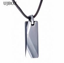 UJBOX Tide Men Geometric Tungsten Pendant Necklace High Polished Men Jewelry Fathers Day Gift NE335UX