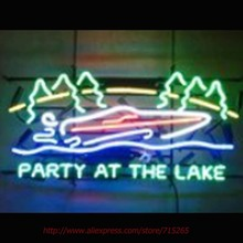 Party At The Lake Neon Sign Neon Bulbs Led Signs Real Glass Tube Handcrafted Recreation Windows Beer neon Custom Design 30x15(China)