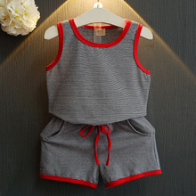 Children'S Clothing Store 2017 Years Design Movement Style Summer Kids Clothing Sleeveless Stripe T-Shirt + Shorts Boy'S Clothes