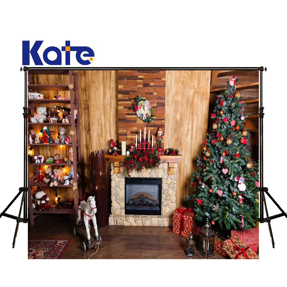 KATE 5x7ft Christmas Backdrop Wooden Wall and Floor Backdrops Navidad Fireplace Background Arvore De Natal Decorations Photo<br>