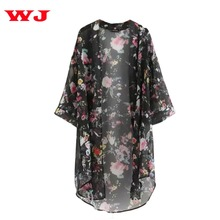 2017 Summer Sunproof Cardigan Fashion Women Chiffon Bikini Cover Up Kimono Cardigan Coat Bathing Wear