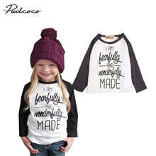 2017 Brand Pudcoco Baby Girls Clothing Cartoon Letter Prined Long Sleeve T Shirt Casual Blouse Top Baby Boys Kid Clothes Set