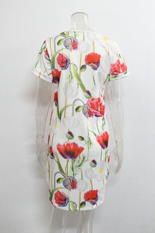 2018 Spring Summer Printed Women Dress O-Neck Hem Side Split Ladies Dresses Tie Sashes Short Sleeve Casual Sexy Female Vestidos 15