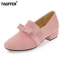 TAOFFEN Size 33-43 Office Lady High Heel Shoes Women Bownot Square Toe Solid Color pumps Daily Work Students Female Footwears