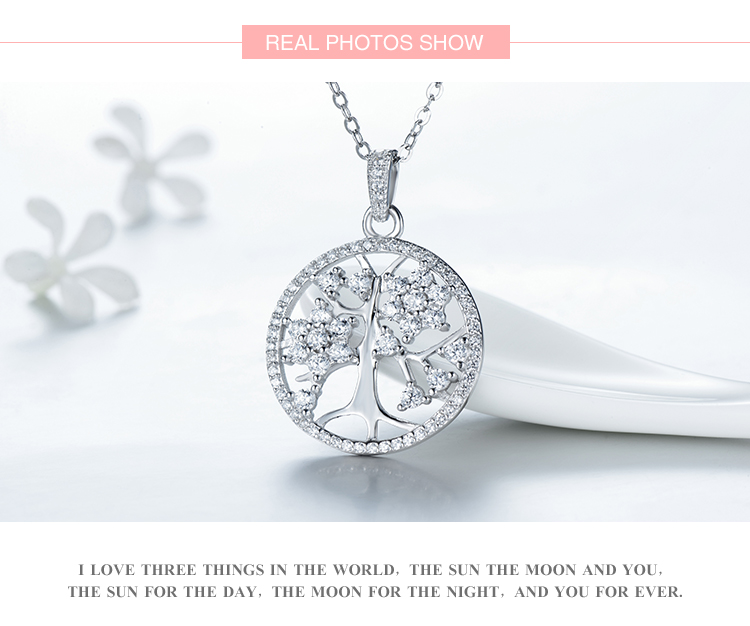 2018 New Fashion 100% Solid 925 Sterling Silver Necklace Pendant Classic Tree of Life Beautiful Jewelry For Women Wedding Chain