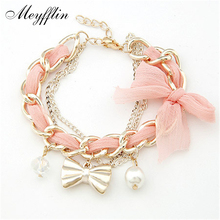 Bracelets for Women Pulseras Fashion Gold Bowknot Charm Bracelets & Bangles Simulated Pearl Bracelet Femme Pulseira Masculina