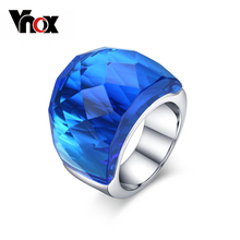 Vnox Large Crystal Stone Rings for Women Stainless Steel Wedding Party anel 7 Color US size 6 7 8 9(China)