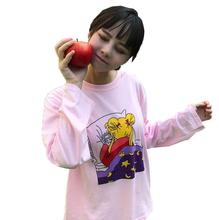 Sailor Moon Cartoon Drucken Lose Langarm College Niedlich t-shirt(China)