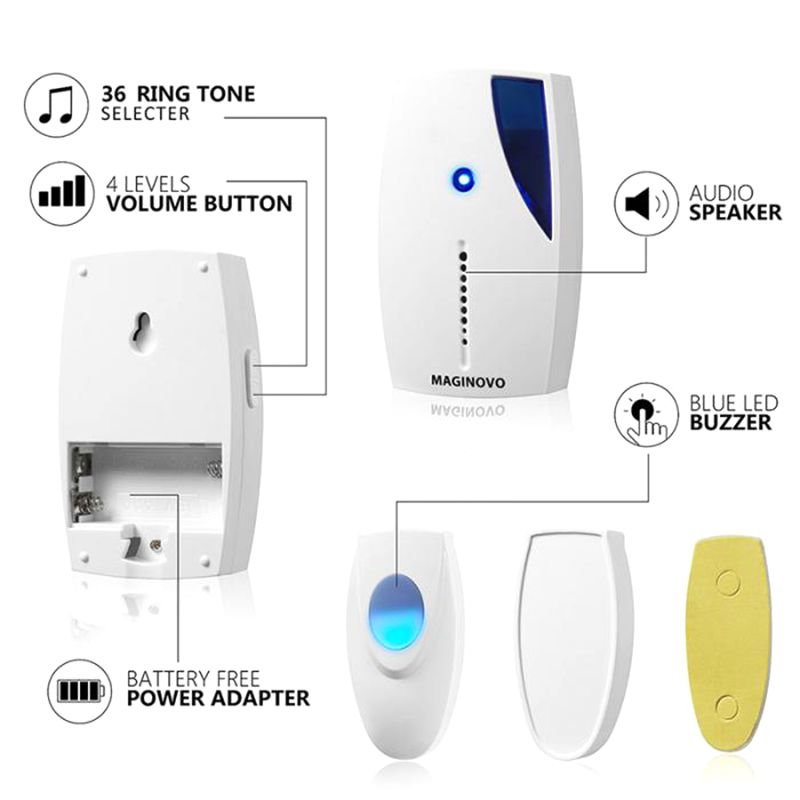 DOITOP Home Wireless Doorbell 36 Tunes Chimes 100M Range Digital Remote Control Door Bell LED Receiver for Home Offices Hotels