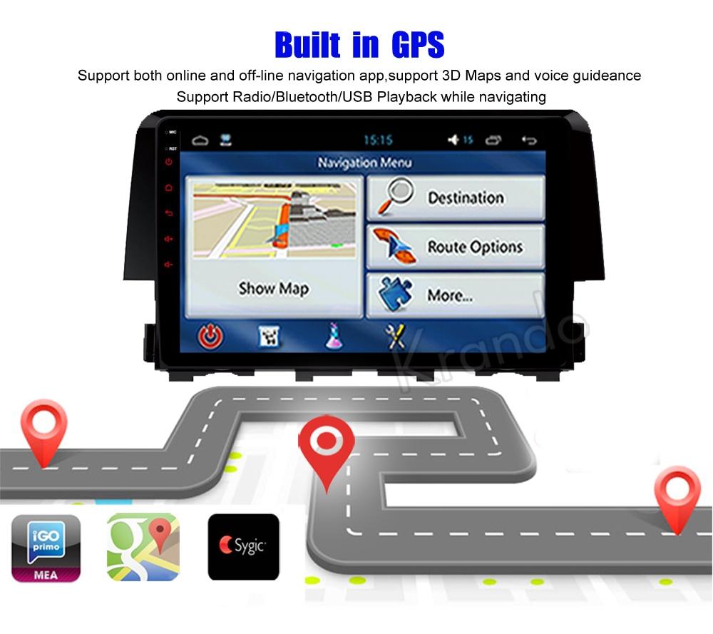 Krando for Honda Civic 2016+ Android car radio gps navigation multimedia system