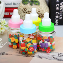 Mini Fruit Rubber Eraser In Milk Bottle Pretend Play Toy Cute Kitchen Children Mini Fruit Model Toys School Supplies Stationery(China)