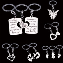 Mommy Daddy Heart Big Middle Little Sister Sis Butterfly Horse Animal Key Chains Rings Family Women Men Girl Keyrings Keychain(China)