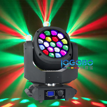 2Pcs of 19 x 15W Bee Eyes Lighting Movinghead DJ Stage Headlights RGBW LED B Eye Move Zoom Easy Wash Light with Art Net System