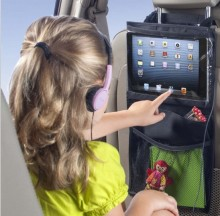 Car Back Seat Organiser Tablet holder Travel for iPad Black Case Storage Bag Pocket Table case