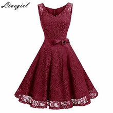 Vintage Floral Lace Pleated Dress Women Sleeveless V-Neck Elegant Party Sexy Dresses Retro 50s Summer Robe Big Swing Dress(China)