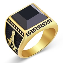 Free Shopping  Latest Gold Ring Designs Western Style Steel Ring Stainless Steel Black Stone Ring For Men