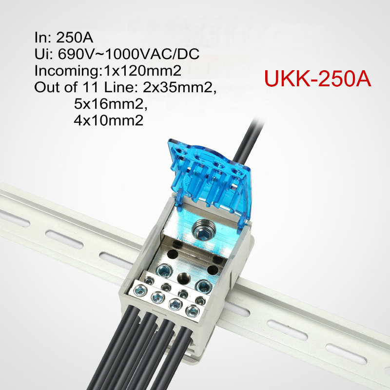 UKK80A Terminal Block Rail distribution Box Universal Electric Wire Connector BH