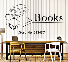 Book Wall Vinyl Decal Books Reading Bookstore Library Interior Decor Removable Wall Stickers For Study Room Home Decor ZB015
