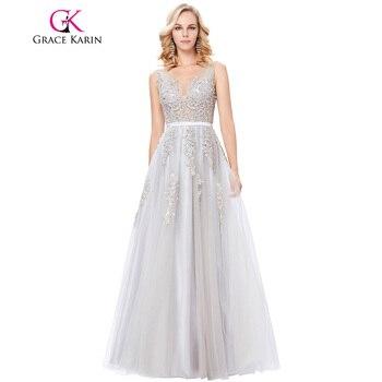 Grace karin robe de soirée longue sexy apliques de tul vestido de noche V profundo Volver Vestidos de Bola Azul Marino Gris vestido de Noche Vestidos de Baile