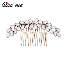 KISS ME Clear Leaves Crystal Hair Combs Classic & Fashion Women Hair Jewelry Accessories