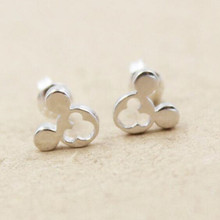 925 Sterling Silver Smooth Fashion Jewelry Hollow Mickey Mouse Wholesale Personality Small Animal Stud Earrings  SE101