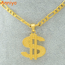"Anniyo Coin Necklace Hip Hop Rap Singer Gold Color US Dollar Pendant Necklace Chain 18""/24"" Accessories Jewelry Money #004810(China)"
