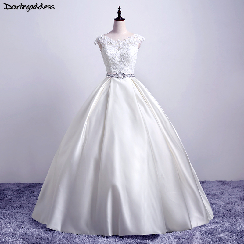 Darlingoddess 2018 New Simple Ball Gown Wedding Dresses Pure White Satin Lace Princess Wedding Gowns 2018 Vestido De Noiva