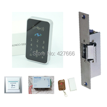 Free ship by DHL ,access control kit ,EM keypad access control + power + strike lock + Exit button +10 em cards