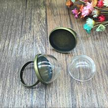 20sets/lot 20mm clear half round glass dome cover with antique bronze color ring set round tray jewelry accessories charms
