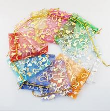 100pcs Wedding Favors Heart Candy Bag Wedding Souvenir For Guests Organza Jewelry Gift Bags Party Supplies