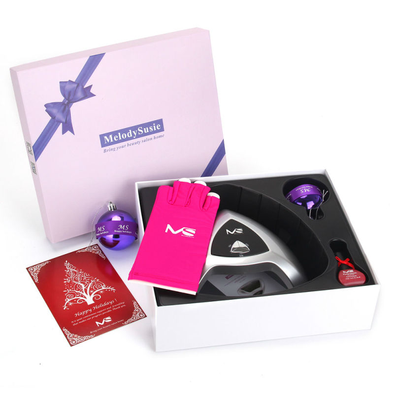 MelodySusie free shipping Home Manicure Holiday Gift Box, 24W Nail Lamp+Gel Nail Polish+UV Protection Glove+ Ball Ornament(China)