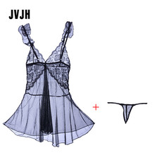Buy Sexy Lace Nightgown Sleep dresses Women Strap Erotic Dress G String Set Deep V Sleepwear Lingerie Yarn Nightdress Perspective 49