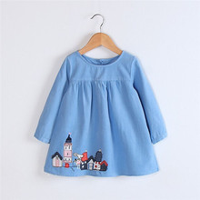 2017 New Hot Sale Toddler Kids Baby Girls Clothes Long Sleeve Corduroy Party Wed Princess Dresses Brand New High Quality 30(China)