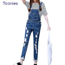 2017 Womens Jumpsuit Denim Overalls Ripped Casual Loose Skinny Jeans Pants Hole Salopette Jeans Women Overalls Plus size S-5XL(China)