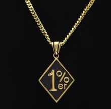 The new 2017 hit percentage gold-color pendant with 1% hip hop necklace army card man necklace women's accessories