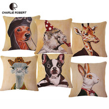 45*45cm Mr Animal Decorative Linen Cushion Seat Back Chair Throw Pillow With no Core Seat Snap Coffee Sofa Cojin Decor HH895(China)
